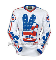 V collar motocross jersey long sleeve mesh jerseys digital printing jersey