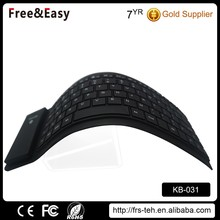 Mini flexible bluetooth wireless silicone keyboard