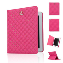 Fashion Girl Crown PU Leather Case Cover Flip Stand Case for iPad 2 For Apple iPad 3 4 Protective Case