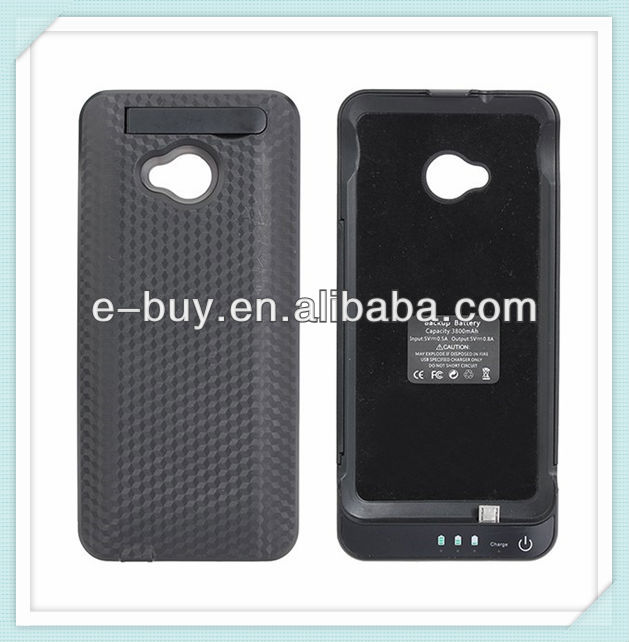 3800mAh external portable power bank case for htc one m7