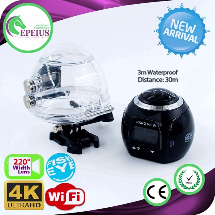 "2017 NEW DESIGN V1 360 VR WIFI CAMERA 1080P HD UNDERWATER vr camera 360 1"" LED SCREEN 360 ACTION CAMERA"