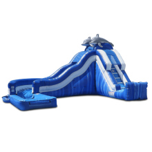 giant dolphin Side Loader inflatabel waterslide inflatable water slide with pool for sale