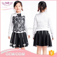 Custom China long sleeve latest designs kid knitted black lace clothes wool sweater design for girl
