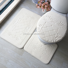 Anti-slip 3pcs mat bathroom bath rug set