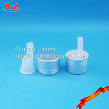 Plastic essential oil reducer with metal screw cover, glass bottle dropper insert and metal cap