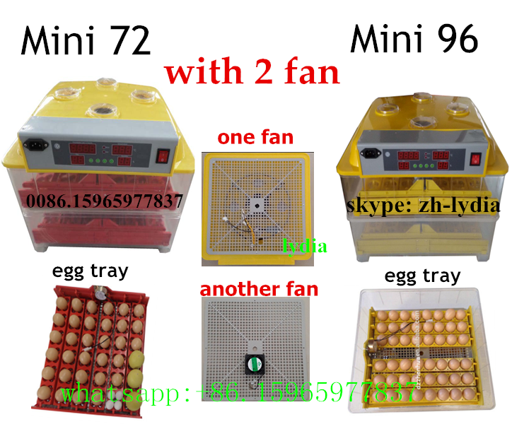 Two fan ZH-96 & ZH-72 mini egg incubator prices india/egg hatcher machine with CE(whatsapp:+86.15965977837)