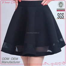 Charming elegant ladies pretty skirt in black and contrast mesh peplum