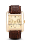Cheap brand your Logo Square stainless steel Leather watch Smart unisex gold face wristwatch OEM