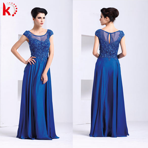 2014 Newest Cap Sleeve Design Embroidered Chiffon Maxi Dress