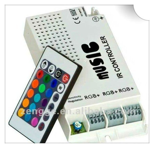 wholesale music control strobe light controller 3 ports with wireless remote sound control ruban colors