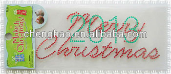 alphabet colorful acrylic stone christmas window decoration sticker