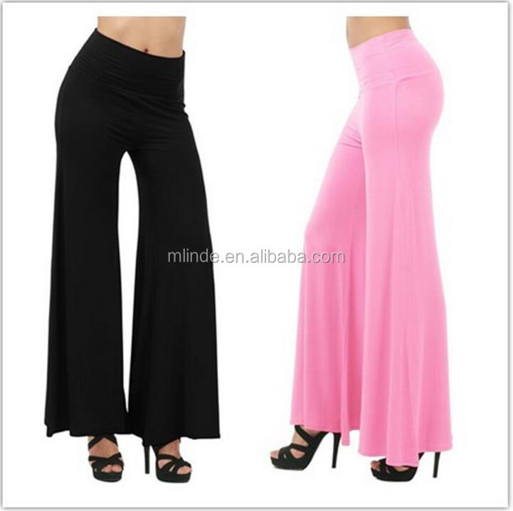 Casual Palazzo Pants Women Hippie Boho Vintage Ethnic Women Wide Leg Pants Female Trousers Loose Elastic Waist High Trousters