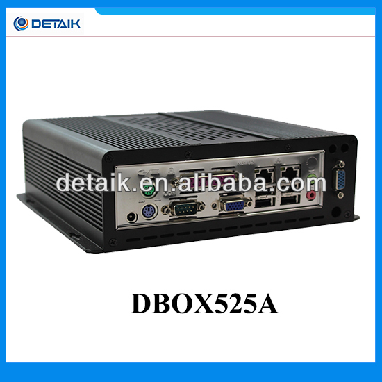 Latest Detaik Fanless Industrial Micro Computer / D525 Dual Core Processor / 6 USB + 4 COM