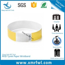 Colorful disposable rfid printable paper wristband for event ticket
