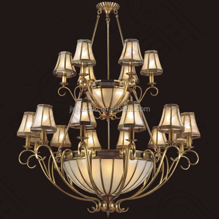 Double Layers Antique Brass Copper Big Chandelier Lighting for House Hotel Decoration