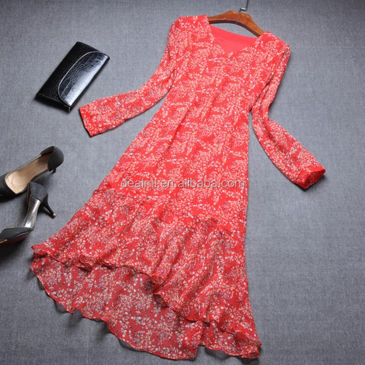 DEMIZXX203 Wholesale Women Summer Fashion New Design Long Sleeves Fishtail Dress