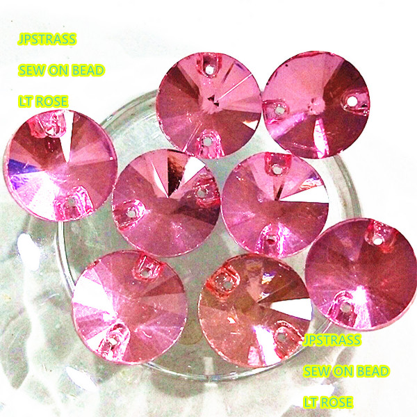 Round shape sewing crystal glass bead lt rose color 14mm ,sewing flat back loose bead for wedding dress fabric