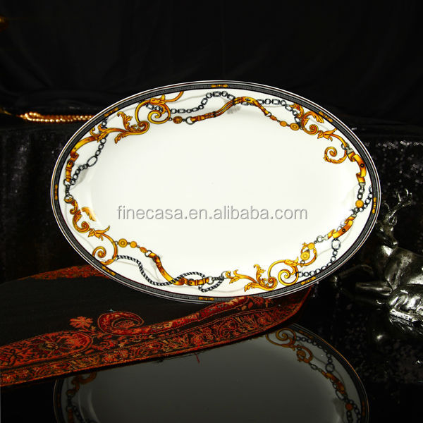 Luxury Fine Bone China 14 Inches Oval Fish Dish of Knight