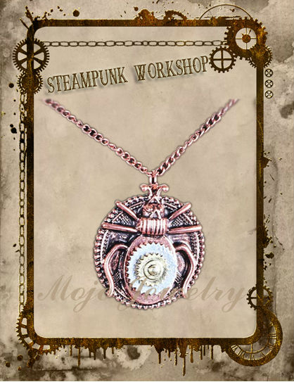 Vintage Mechanical Bronze Color Gear Bug Pendant Necklace From Yiwu Jewelry Manufacturer