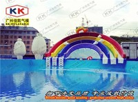 Club Giant water pool rainbow cartoon theme customized water inflatable slide for kids and adults