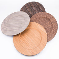 Wholesale cheap wedding plastic with wooden covering charger plate for sale