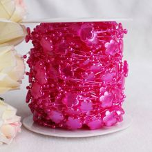 Wholesale 42M/Roll ABS Plum Blossom Pearl Bead Garland Acrylic Flower Strands Wedding Table Centerpiece Decoration
