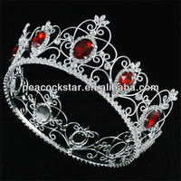 Wholesale Pageant Full Circle Tiara Simulated Red Ruby King / Queen Crown CT1722