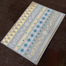 2015 inspired jewelry gold and silver metallic temporary tattoo