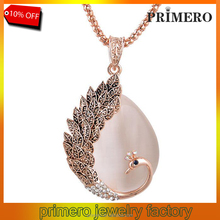 PRIMERO Fine Jewelry New Fashion KC rose Gold Filled opal czech Crystal pendant Peacock Necklace Earring Wedding jewellery