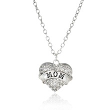"New Fashion Silver Tone "" Mom "" Carved Heart Pendant Clear Rhinestone Link Cable Chain Necklace"