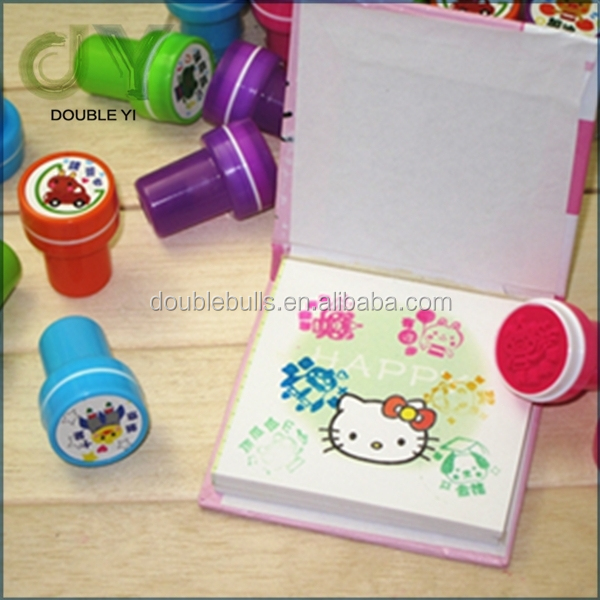 Custom wholsale top quality plastic kids carton custom children ink stamp cartoon rubber stamp