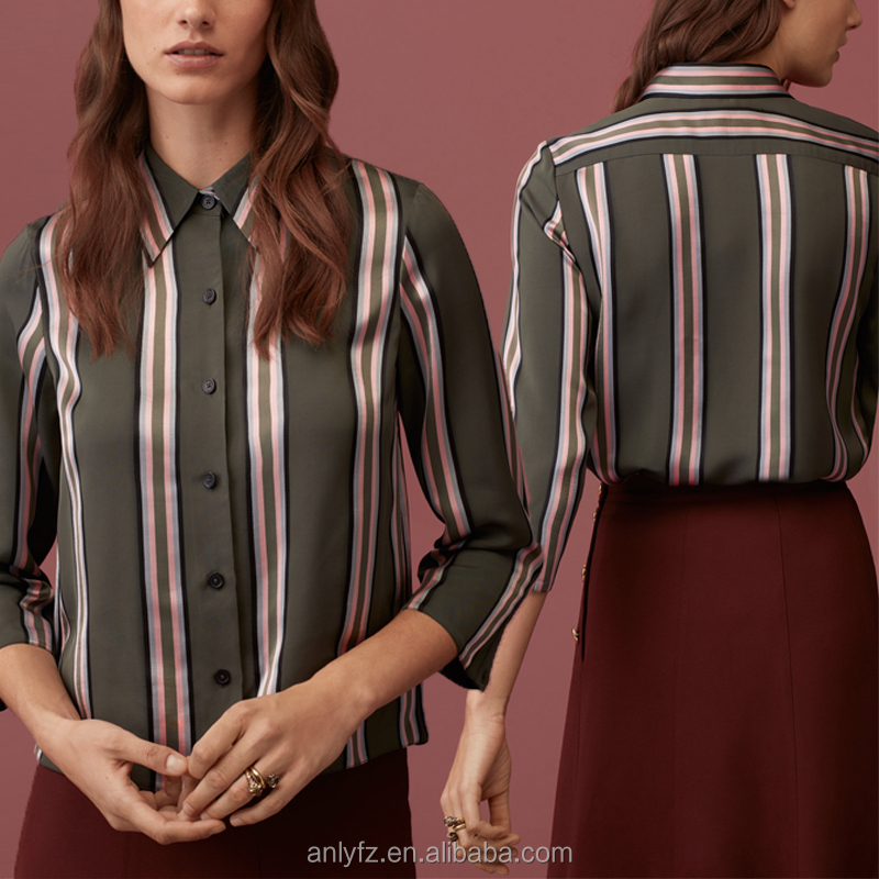 Wholesale high quality turn-down collar design three quarter sleeves striped women blouse