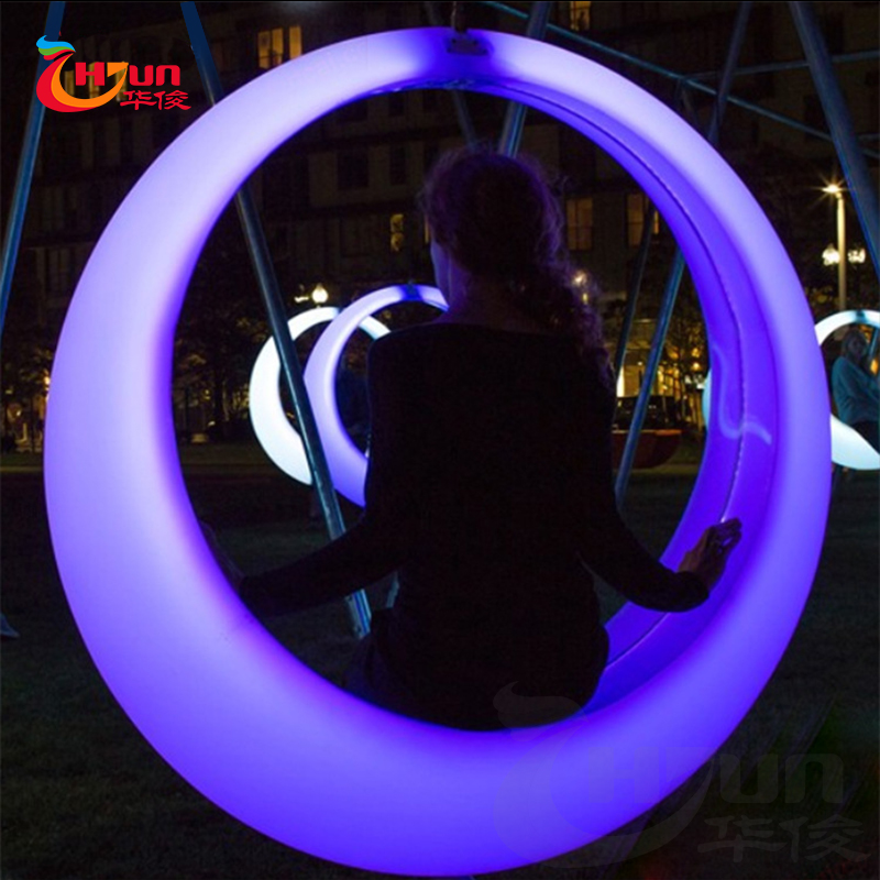 2017 hot selling strong plastic outdoor illuminated led swing for kids
