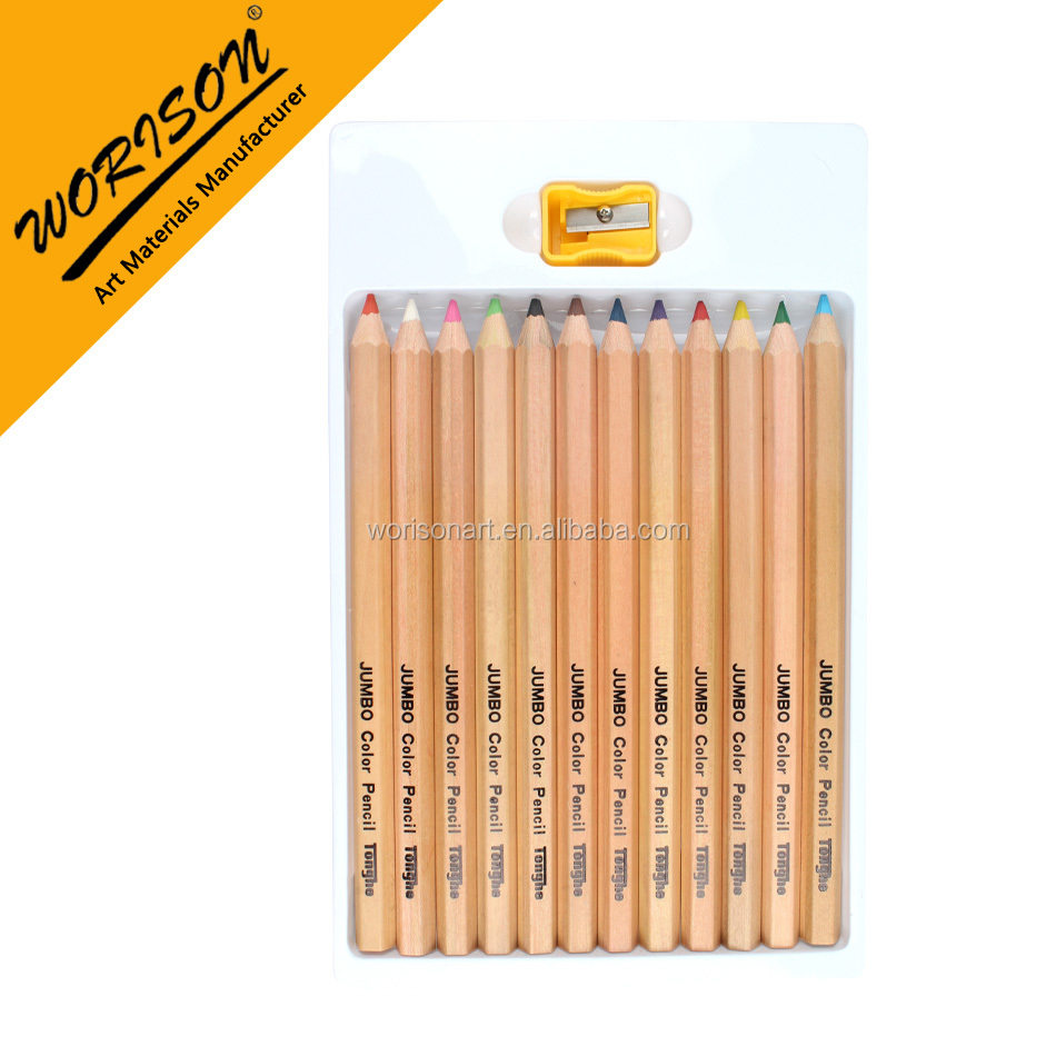 12pcs JUMBO size color pencils set nature basswood pencils art drawing pencil set