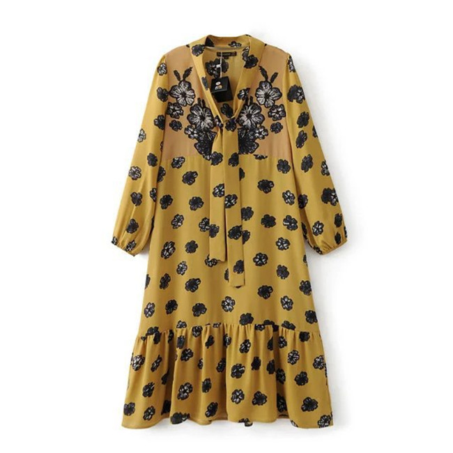 Hot Sale European Style Brand Dresses For Women Fashion Print Long Sleeve Yellow Dresses Female Maxi Long Dress