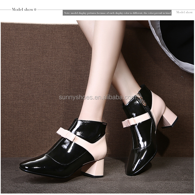 2017 new arrivals high chunky heel patent leather ankle boot women casual shoes online