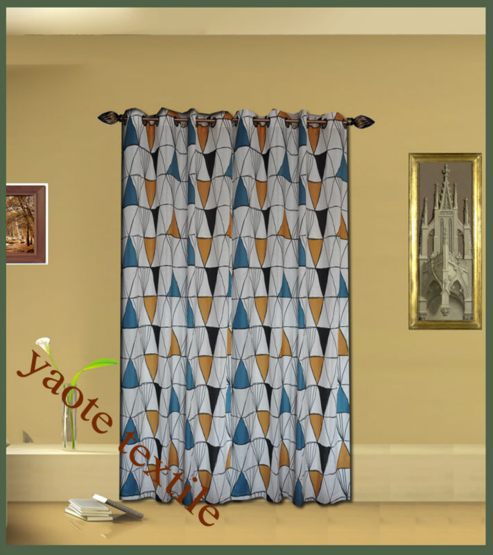 absrtract drawing design curtain on faux linen with modern design