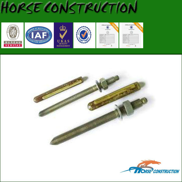 chemical anchor bolt used in connection and fixation of steel structures and concrete structures
