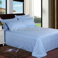 Hot sale single / double cotton bed sheets light blue bed sheets