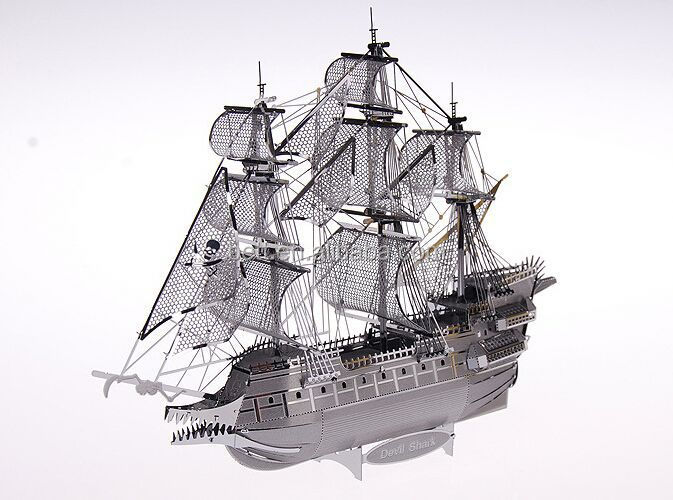 Hot selling boat shape 3d metal puzzle pirate ship metal puzzle