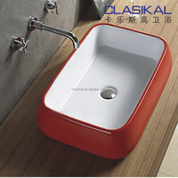 Big size simple modern design red and white color cabinet basin