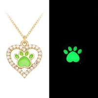 Animal Lover Glow in Dark Shining Rhinestone Dog Paw Print Dog Necklace