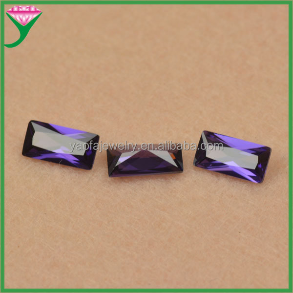 wholesale russian 4*8mm loose man made cz gemstones rectangle rough stone amethyst