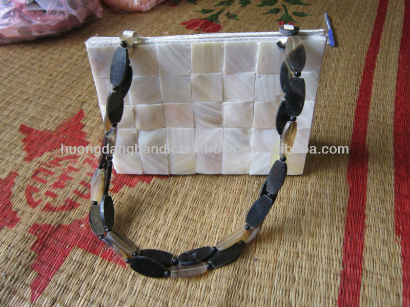 Vietnamese seashell handbag with horn handles, traditional handbag made