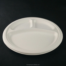 9'' 3-compartment bagasse plate