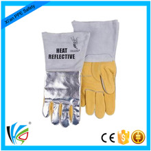 Reflective Aluminum Long Sleeve Heat Resistant Leather Glove