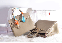 Factory direct sales nude high quality women purse 30cm Lychee cowhide leather totes H-Y18 OEM