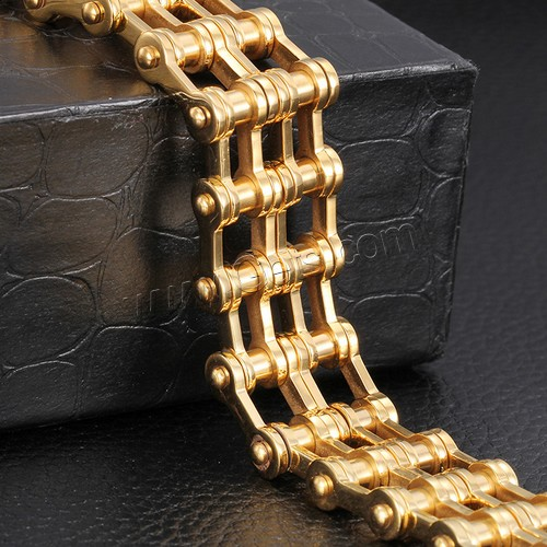 2016 New Design Stainless Steel Men's 18K Jewelry Gold Plated Bike Chain Bracelet