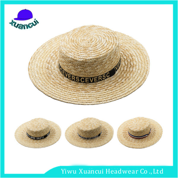 Hot Selling Manufacturer Custom Made Panama straw hat Unisex Skimmer straw boater hats