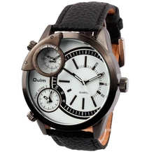 Unisex business style double japan quartz movement 3 place display genuine leather strap men wrist oulm 3136 watch
